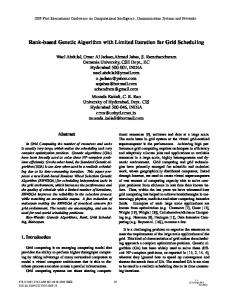 Rank-Based Genetic Algorithm with Limited Iteration for Grid Scheduling