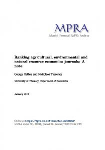 Ranking agricultural, environmental and natural resource ...