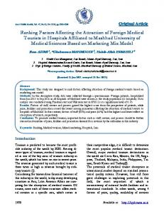 Ranking Factors Affecting the Attraction of Foreign Medical Tourists in
