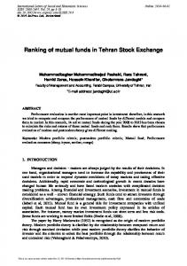 Ranking of mutual funds in Tehran Stock Exchange - SciPress