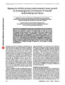 Rapamycin inhibits primary and metastatic tumor growth by ... - Nature