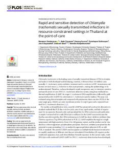 Rapid and sensitive detection of Chlamydia trachomatis sexually