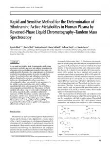 Rapid and Sensitive Method for the Determination of Sibutramine ...