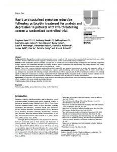 Rapid and sustained symptom reduction following psilocybin ...
