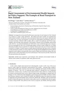 Rapid Assessment of Environmental Health Impacts for Policy ... - MDPI