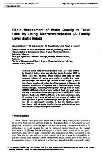 Rapid Assessment of Water Quality in Teluk Lake by Using