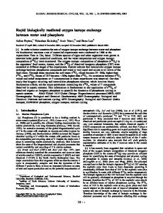 Rapid biologically mediated oxygen isotope