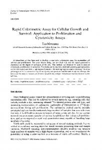 Rapid Colorimetric Assay for Cellular Growth and Survival - CiteSeerX