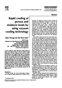 Rapid cooling of porous and moisture foods by using vacuum cooling ...
