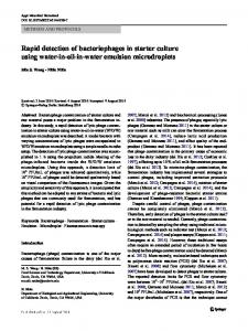 Rapid detection of bacteriophages in starter culture