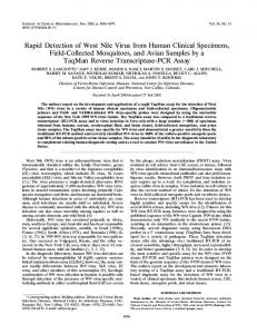 Rapid Detection of West Nile Virus from Human Clinical Specimens ...