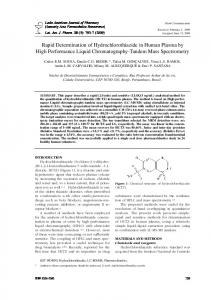 Rapid Determination of Hydrochlorothiazide in Human Plasma by