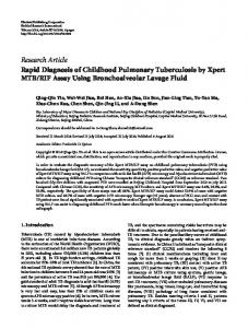 Rapid Diagnosis of Childhood Pulmonary Tuberculosis by Xpert MTB ...