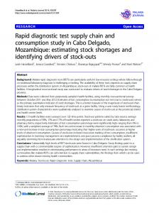 Rapid diagnostic test supply chain and consumption
