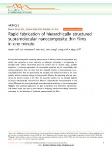 Rapid fabrication of hierarchically structured supramolecular ...