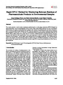 Rapid HPLC Method for Monitoring Relevant Residues of ...
