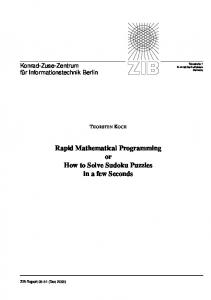 Rapid Mathematical Programming or How to Solve Sudoku ... - OPUS 4
