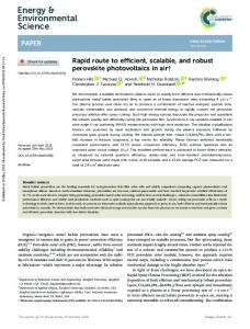 Rapid route to efficient, scalable, and robust