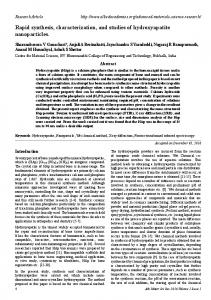 Rapid synthesis, characterization, and studies of ... - Allied Academies