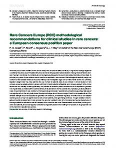 Rare Cancers Europe (RCE) methodological recommendations for ...