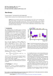 Rare Decays - EPJ Web of Conferences
