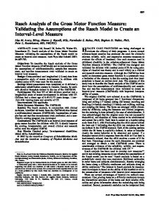 Rasch Analysis of the Gross Motor Function Measure - Archives of ...