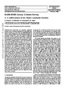 RASS-SDSS galaxy cluster survey. II. A unified picture of the Cluster ...