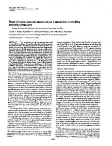 Rate of spontaneous mutation at human loci encoding protein ... - NCBI