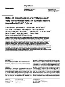 Rates of Bronchopulmonary Dysplasia in Very ...