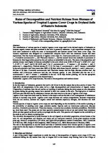 Rates of Decomposition and Nutrient Release from