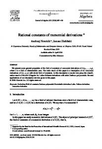 Rational constants of monomial derivations - Science Direct