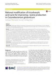 Rational modification of tricarboxylic acid cycle for improving l-lysine ...