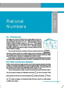 Rational Numbers - NCERT BOOKS and CBSE BOOKS