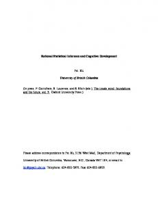 Rational Statistical Inference and Cognitive Development ... - CiteSeerX