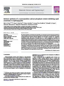 Rational synthesis of a nanocrystalline calcium phosphate cement ...
