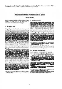 Rationale of the Mathematical Joke - My FIT - Florida Institute of ...