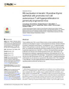 RB inactivation in keratin 18 positive thymic epithelial cells ... - PLOS