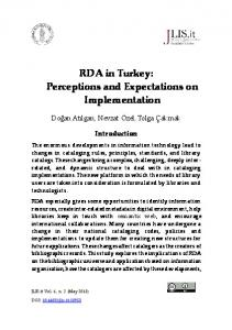 RDA in Turkey: Perceptions and Expectations on Implementation - JLIS.it
