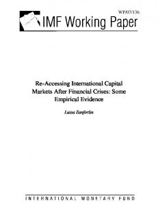 Re-Accessing International Capital Markets After Financial Crises - IMF