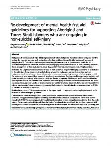 Re-development of mental health first aid guidelines ... - BMC Psychiatry