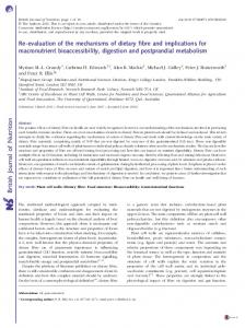 Re-evaluation of the mechanisms of dietary fibre and