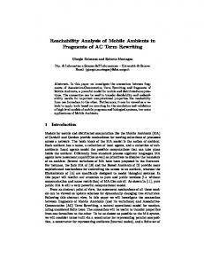 Reachability Analysis of Mobile Ambients in Fragments of AC Term ...