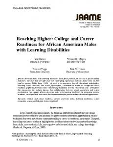 Reaching Higher: College and Career Readiness for African American