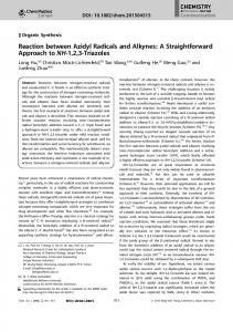 Reaction between Azidyl Radicals and Alkynes - Wiley Online Library