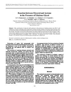 Reaction between Glycerol and Acetone in the ... - Springer Link