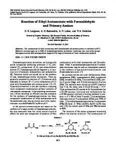 Reaction of Ethyl Acetoacetate with Formaldehyde and ... - Springer Link