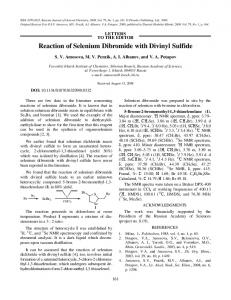 Reaction of Selenium Dibromide with Divinyl Sulfide - Springer Link