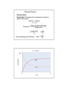 Reaction Rates: Chemical Kinetics