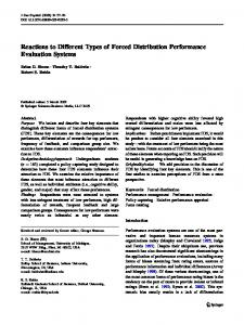 Reactions to Different Types of Forced Distribution Performance ...