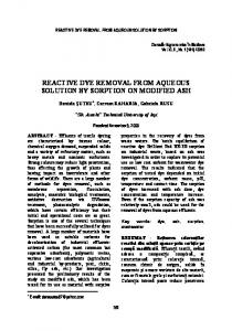 reactive dye removal from aqueous solution by ...